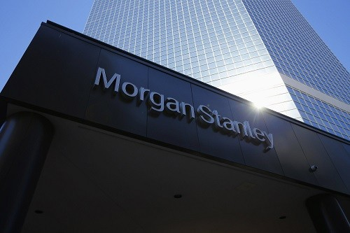 File of the corporate logo of financial firm Morgan Stanley is pictured on a building in San Diego