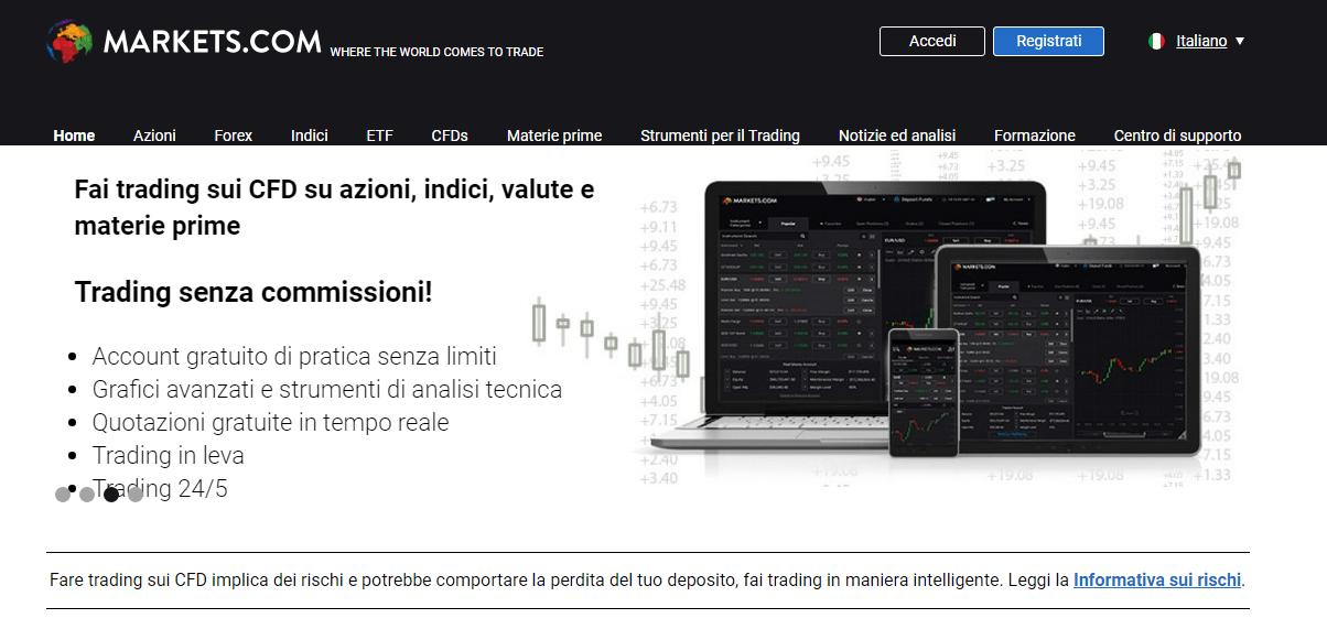 Markets.com: piattaforma di trading CFD