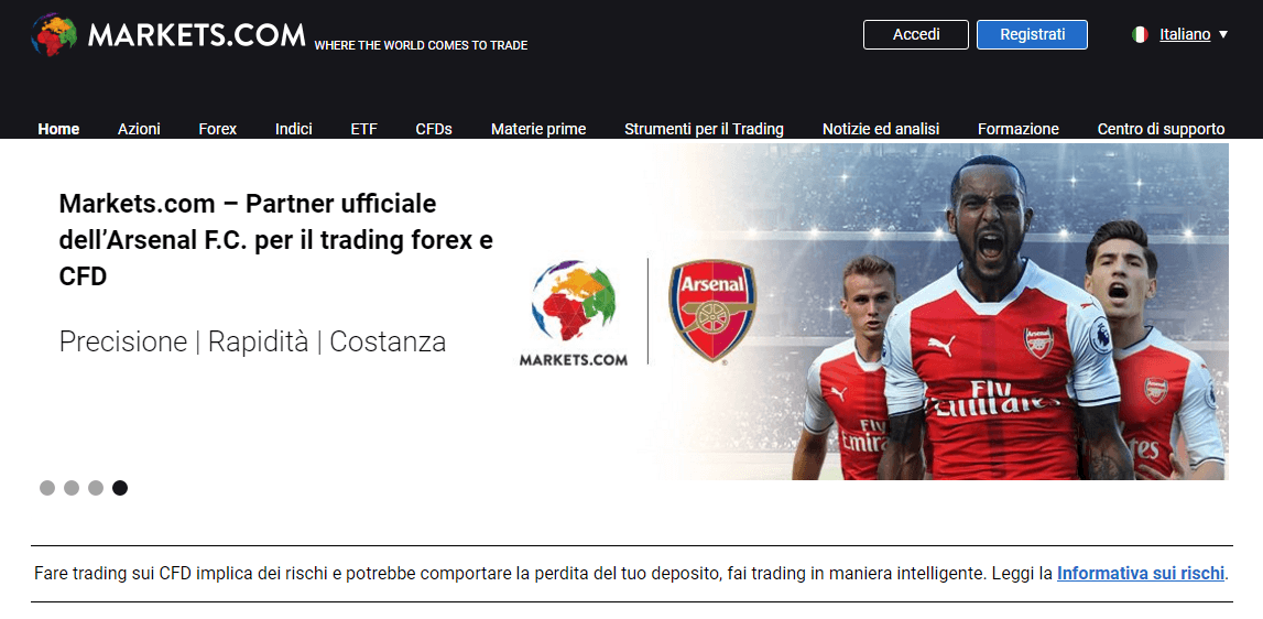 markets.com trading partner arsenal