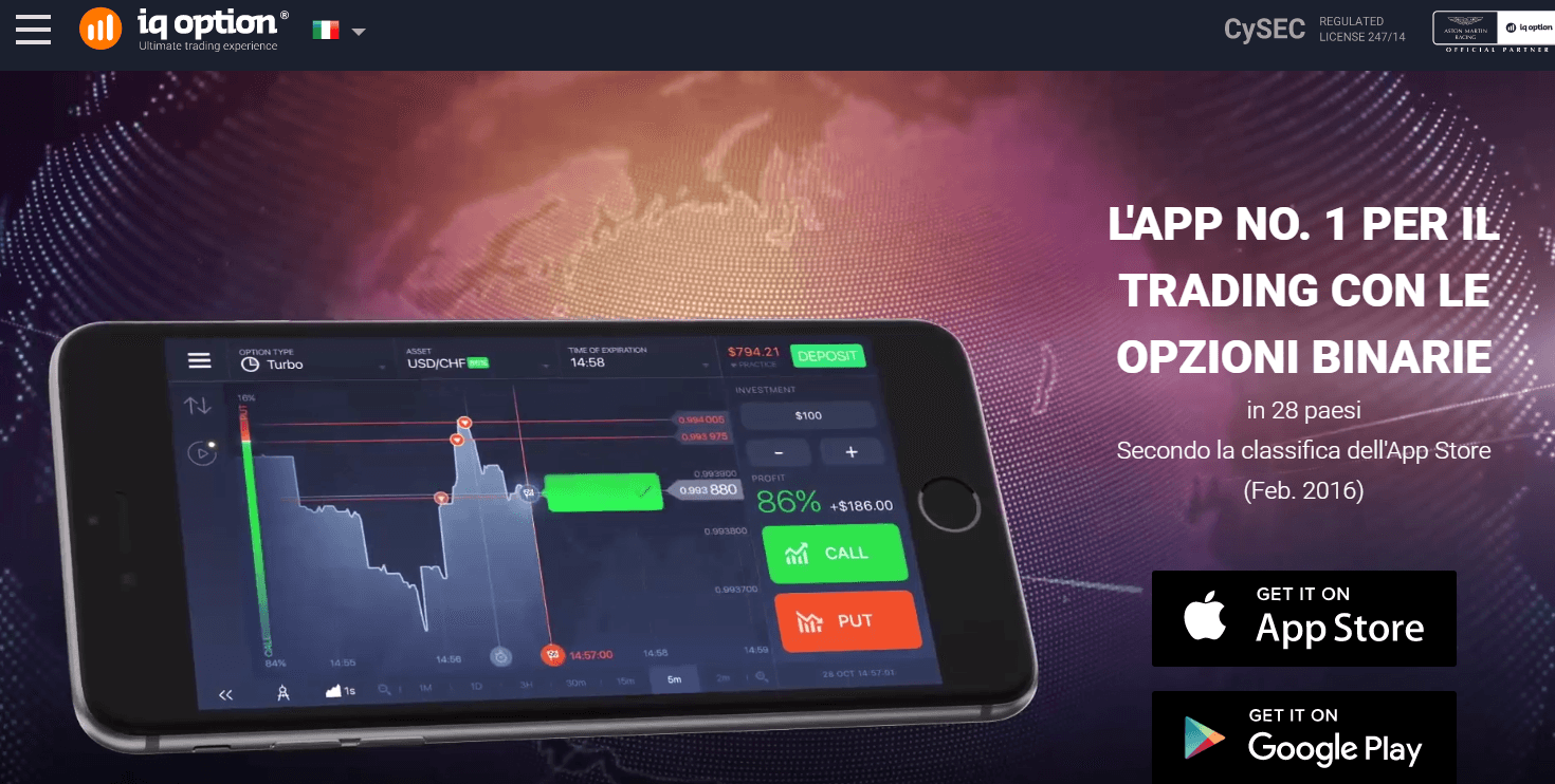 IQ Option piattaforma mobile