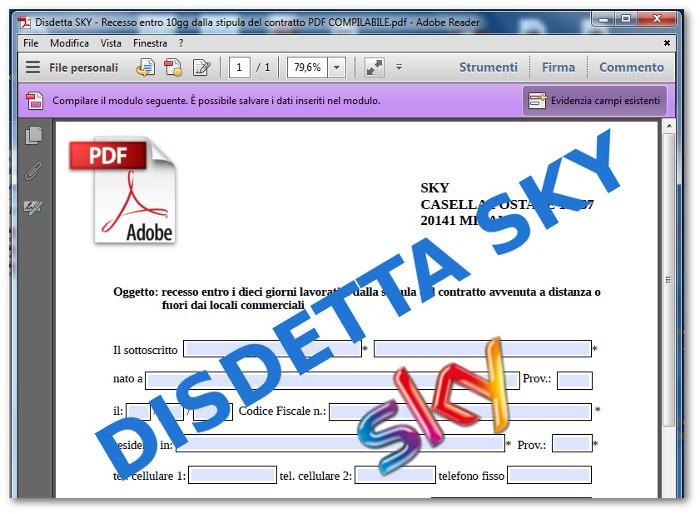 Modulo disdetta Sky: fac-simile -Legge Bersani - Costi
