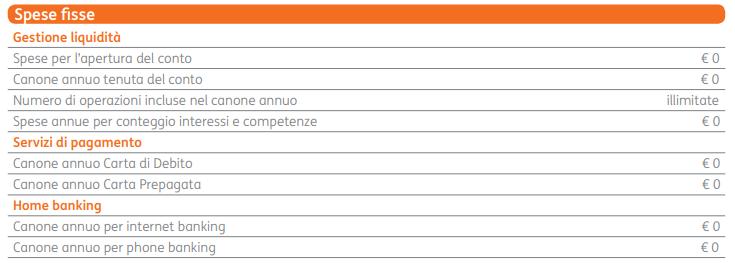 conto-corrente arancio spese