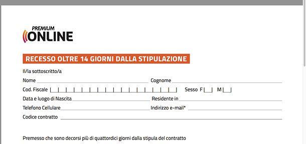 Fac-simile disdetta abbonamento Mediaset Premium