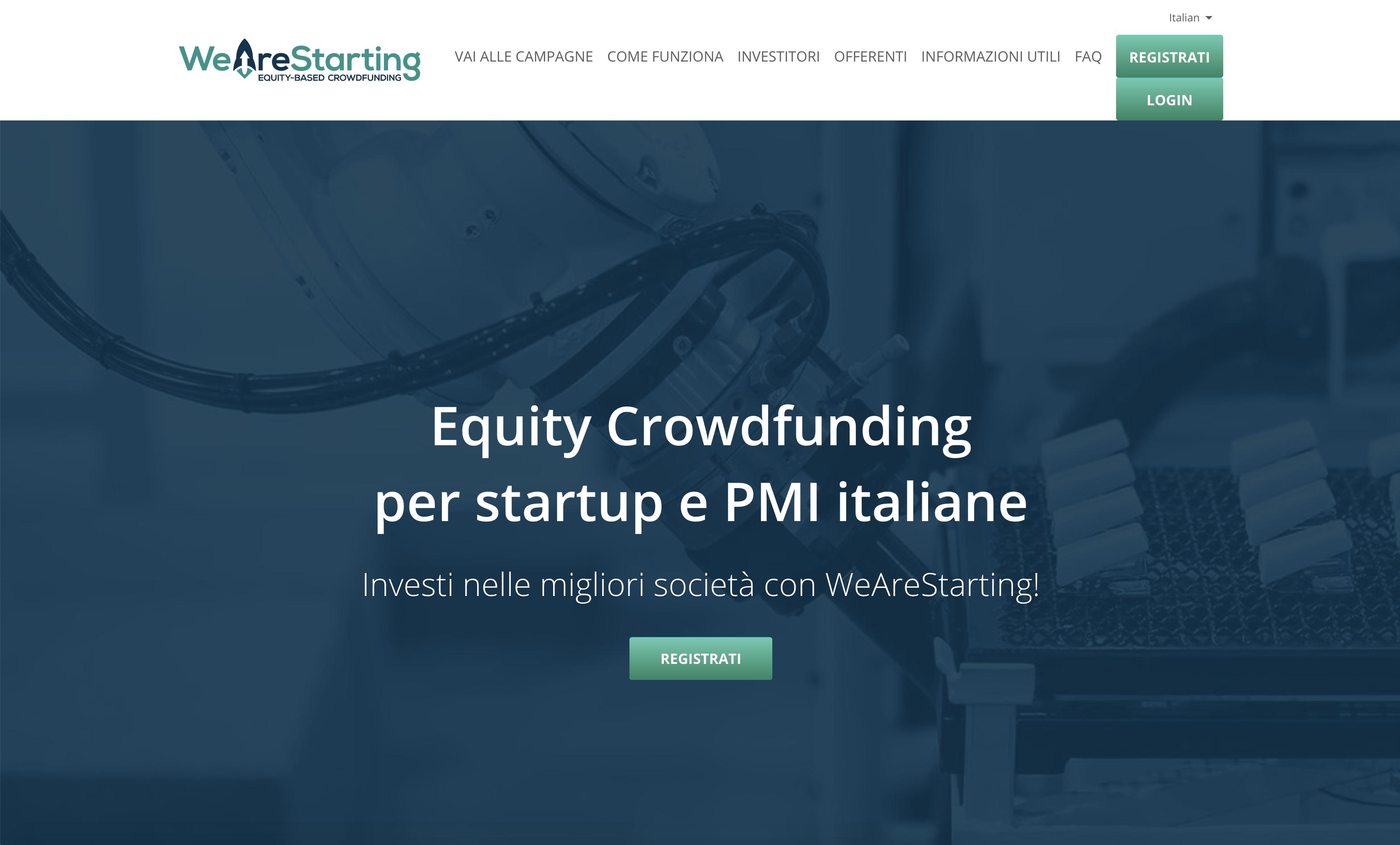 Wearestarting crowdfunding: diventa socio di startup e pmi in pochi minuti. Recensione.